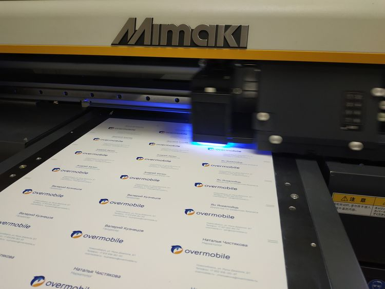 УФ-печать на визитках